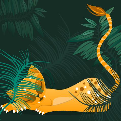 Illustration Mutter Natur Ausschnitt Löwin im Dschungel designed by Merih Aktas Goellrich
